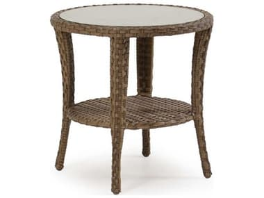 Palm Springs Rattan Alexandria Wicker 24'' Wide Round Glass Top End Table PS6020G