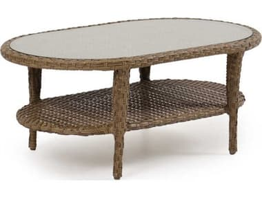 Palm Springs Rattan Alexandria Wicker 42''W x 20''D Oval Glass Top Coffee Table PS6029G