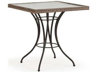 Palm Springs Rattan Augusta Wicker 28'' Wide Square Glass Top Bistro Table PS621828DT