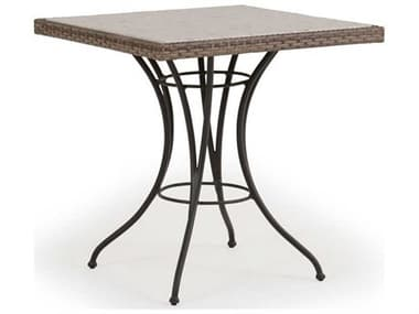 Palm Springs Rattan Augusta Wicker 28'' Wide Square Stone Top Bistro Table PS621828DTST