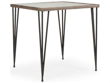 Palm Springs Rattan Augusta Wicker 39'' Wide Square Stone Top Bar Height Table PS621839BTST