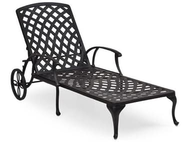 Palm Springs Rattan Oxford Cast Aluminum Weathered Black Chaise Lounge PS7109