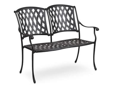 Palm Springs Rattan Oxford Cast Aluminum Weathered Black Bench PS7112