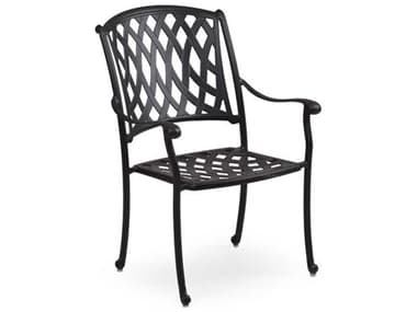 Palm Springs Rattan Oxford Cast Aluminum Weathered Black Dining Arm Chair PS7130