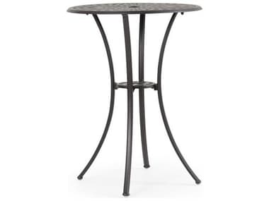 Palm Springs Rattan Oxford Cast Aluminum Weathered Black 30'' Wide Round Bar Table with Umbrella Hole PS7130BT