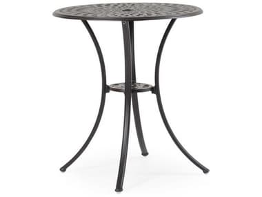Palm Springs Rattan Oxford Cast Aluminum Weathered Black 30'' Wide Round Counter Table with Umbrella Hole PS7130CT