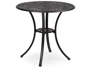 Palm Springs Rattan Oxford Cast Aluminum Weathered Black 30'' Wide Round Bistro Table with Umbrella Hole PS7130DT
