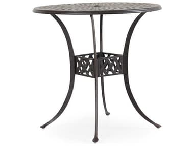 Palm Springs Rattan Oxford Cast Aluminum Weathered Black 42'' Wide Round Bar Table with Umbrella Hole PS7142BT