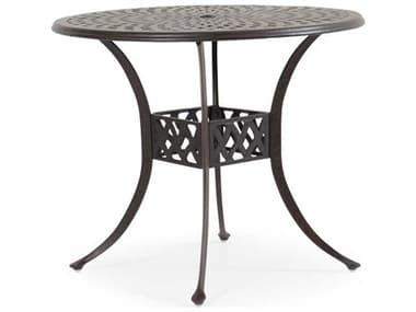 Palm Springs Rattan Oxford Cast Aluminum Weathered Black 42'' Wide Round Counter Table with Umbrella Hole PS7142CT