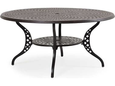 Palm Springs Rattan Oxford Cast Aluminum Weathered Black 60'' Wide Round Dining Table with Umbrella Hole PS7160DT