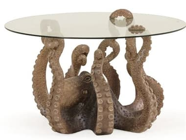 Palm Springs Rattan Outdoor Home Decor 36'' Wide Round Octopus Bevel Glass Top Coffee Table PSOUT931CT