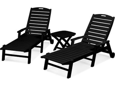 POLYWOOD® Nautical Recycled Plastic 3-Piece Chaise Lounge Set PWPWS1451