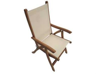 Royal Teak Collection Florida White Sling Adjustable Folding Dining Arm Chair RLFLWH