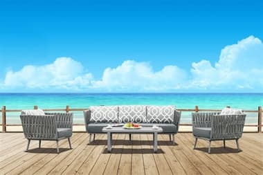 Source Outdoor Furniture Aria Aluminum Cushion Lounge Set SCSF2028103SET