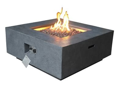 Source Outdoor Furniture Elements Concrete Dark Gray 36'' Wide Square Natural Gas Fire Pit SCSF6202696N