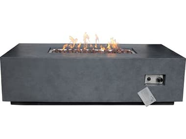 Source Outdoor Furniture Elements Concrete Dark Gray 55''W x 28''D Rectangular Natural Gas Fire Pit SCSF6202697N