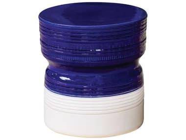 Seasonal Living Ceramic Navy Blue & Snow White Stool SEA308FT342P2NBSW