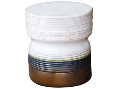 Seasonal Living Ancaris Snow White & Metallic Gold Ceramic Stool SEA308FT342P2SWG