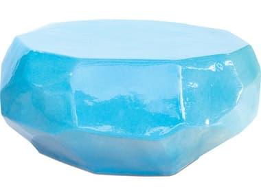 Seasonal Living Geo Turquoise Blue Ceramic 38'' Wide Round Coffee Table SEA308FT358P2TB