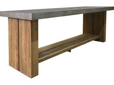Seasonal Living Perpetual Slate Gray Concrete Mykonos 118''W x 38''D Rectangular Bar Table SEA501FT169P2G