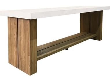 Seasonal Living Perpetual Teak Concrete Ebony White Mykonos 118''W x 38''D Rectangular Bar Table SEA501FT169P2W