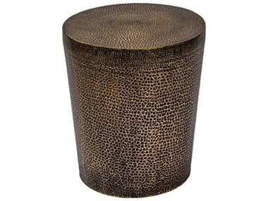 Seasonal Living Ingot Aged Bullion Hand-hammered Copper Ore 16'' Wide Round Accent Table SEA520FT002P2AB