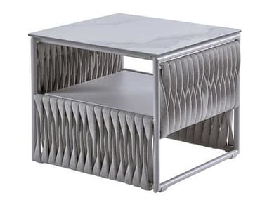Sifas Basket Mat Grey 26'' Wide Aluminum Square Metal Patio End Table SFABASK29BASK29C