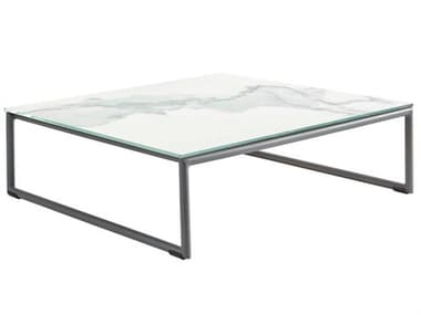 Sifas Kalife Marble / Matte Grey 35'' Wide Aluminum  Square Ceramic Patio Coffee Table SFAKALI24KALI24C