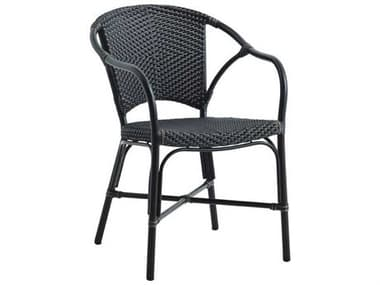 Sika Design Alu Affaire Aluminum Black Valerie Stackable Dining Arm Chair in Black/Cappuccino Dots SIK7176CPBL4