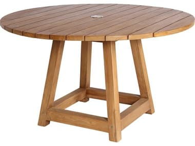 Sika Design Teak Natural Brown George Small 47'' Wide Round Dining Table with Umbrella Hole SIK9442U