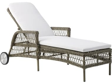 Sika Design Georgia Garden Wicker Antique Cushion Daisy Chaise Lounge with Wheels SIK9595T