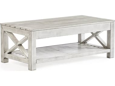 South Sea Rattan Farlowe Brushed White 46''W x 23''D Rectangular Coffee Table SR72344