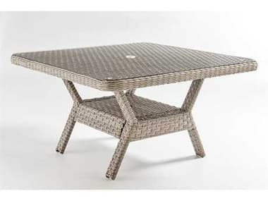 South Sea Rattan Mayfair Wicker Pebble 48'' Wide Square Glass Top Dining Chat Table SR77817