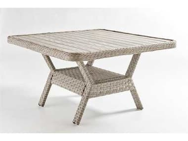 South Sea Rattan Mayfair Wicker Pebble 48'' Wide Square Poly Top Dining Chat Table SR77818