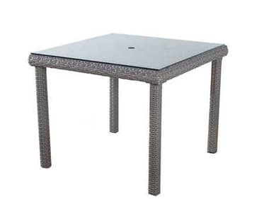South Sea Rattan St Tropez Wicker 38'' Wide Square Glass Top Dining Table SR79317