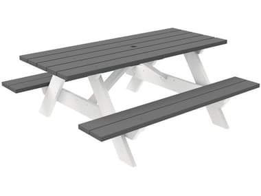 Seaside Casual Complementary Pieces Recycled Plastic Traditional 72''W x 52''D Rectangular Picnic Table with Umbrella Hole SSC043