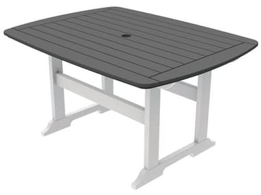 Seaside Casual Portsmouth Recycled Plastic 56''W x 42''D Rectangular Dining Table with Umbrella Hole SSC053