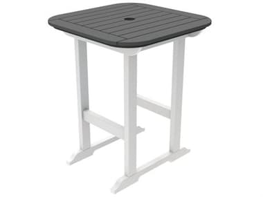 Seaside Casual Portsmouth Recycled Plastic 30'' Wide Square Counter Table with Umbrella Hole SSC080