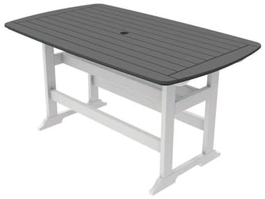 Seaside Casual Portsmouth Recycled Plastic 72''W x 42''D Rectangular Counter Table with Umbrella Hole SSC083
