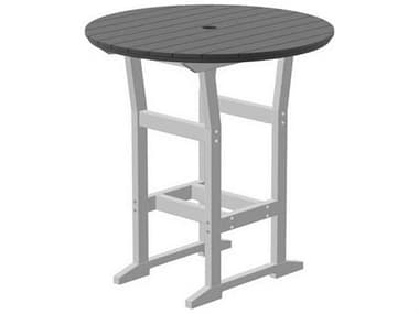 Seaside Casual Coastline Recycled Plastic Cafe Fusion 40'' Wide Round Bar Table with Umbrella Hole SSC329