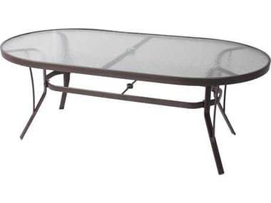 Suncoast Cast Aluminum 76'' x 42'' Oval Glass Top Dining Table SU4276KD