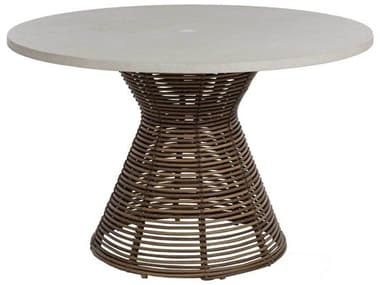 Summer Classics Harris Wicker 48'' Wide Round Dining Table with Umbrella Hole SUM2030