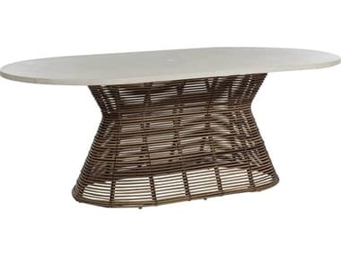 Summer Classics Harris Wicker 84''W x 47''D Oval Round Dining Table with Umbrella Hole SUM2031