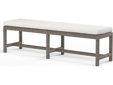 Sunset West Quick Ship Coronado Wicker Driftwood Dining Bench in Canvas Flax with Self Welt SW2101BNCH5492