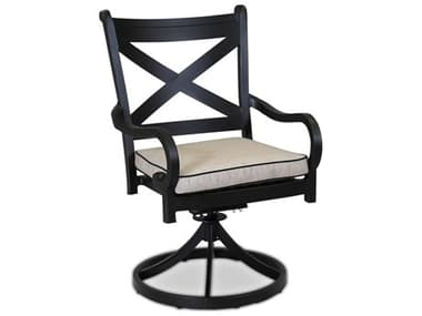 Sunset West Quick Ship Monterey Swivel Dining Chair in Frequency Sand with Canvas Walnut Welt SW30011156094