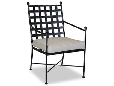 Sunset West Quick Ship Provence Wrought Iron Dining Chair in Canvas Flax with Self Welt SW320115492