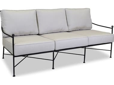 Sunset West Quick Ship Provence Wrought Iron Sofa in Canvas Flax with Self Welt SW3201235492