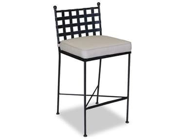 Sunset West Quick Ship Provence Wrought Iron Bar Stool in Canvas Flax with Self Welt SW32017B5492