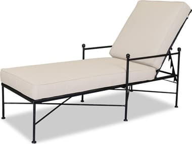 Sunset West Quick Ship Provence Wrought Iron Chaise in Canvas Flax with Self Welt SW320195492
