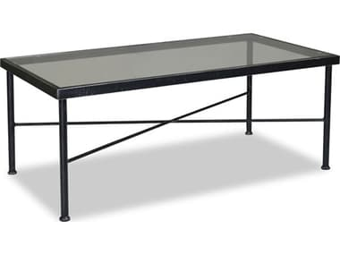 Sunset West Quick Ship Provence Wrought Iron 44 x 22 Rectangular Glass Top Coffee Table SW3201CT